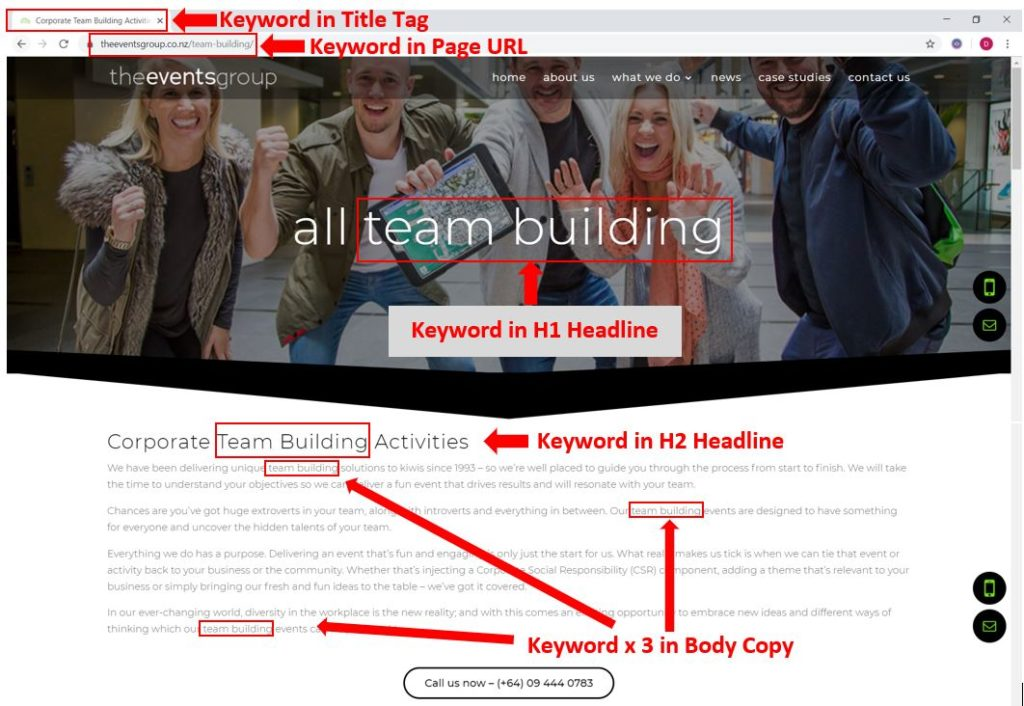 "A site well-optimised for the SEO keyword ""team building"""